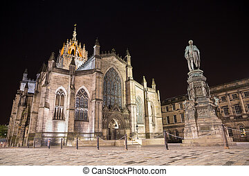 Facade of St Giles Cathedral by night - Night view of St...
