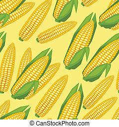 Seamless vector pattern with fresh ripe corn cobs.
