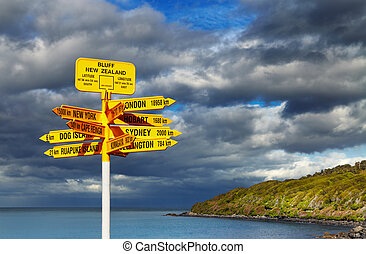 Signpost in the Stirling Point, Bluff, New Zealand. Most...