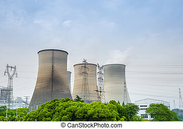 cooling tower closeup in thermal power plant