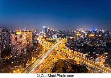 night scene of shanghai yanan west road - city highway...
