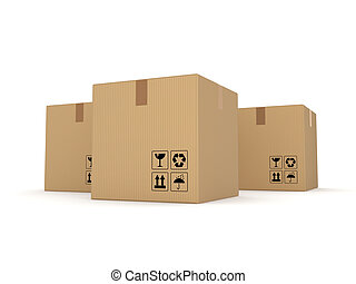 Carton boxes isolated on white background - Carton boxes...