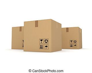 Carton boxes isolated on white background. - Carton boxes...