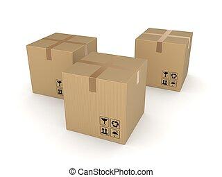 Carton boxes isolated on white background. - Carton boxes,...