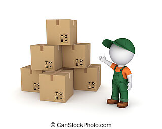Carton boxes - 3d small person in workwear and carton boxes...