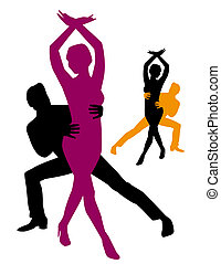 Argentine Tango - Couple silhouette dancing Argentine Tango