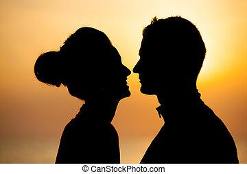 tramonto, coppia, spiaggia,  silhouette, Romantico