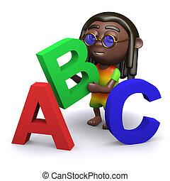 alfabet, onderwijst,  rastafarian,  3D