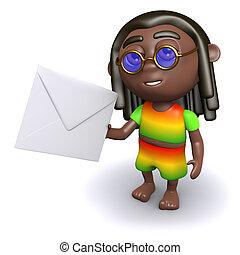 3d Rastafarian has mail - 3d render of a rastafarian holding...