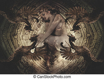 naked woman lying on a floor with Gothic Renaissance...