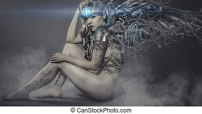 naked woman with iron and metal wings, art scene with gothic eff
