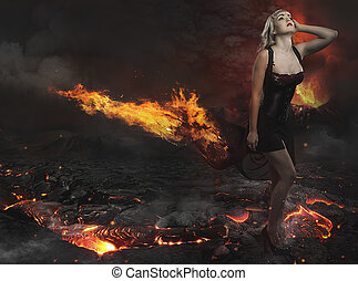 Beautiful blonde in a desolate landscape with a volcano of...
