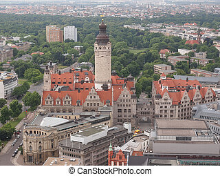 Neue Rathaus - Aerial view of the Leipzig Neues Rathaus...