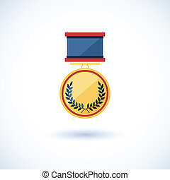 symbol of the winner, badge with tapes