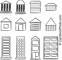 building icons - Vector sketch building icons set. An...