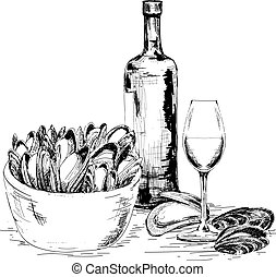 Mussels with wine. Hand drawn graphic illustration