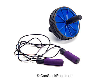 Workout Fitness Exercise Roller and violet skipping rope...
