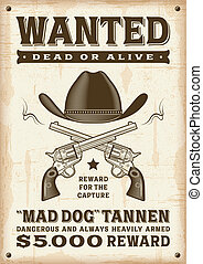 Vintage western wanted poster in woodcut style. Editable...