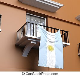 Balcony with Argentinian flag