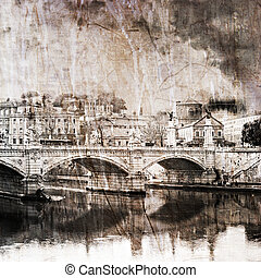 Rome bridge - Image of a bridge over the river tiber in...