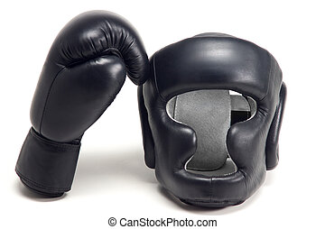 Boxer helmet - Black boxer helmet and one glove isolated on...