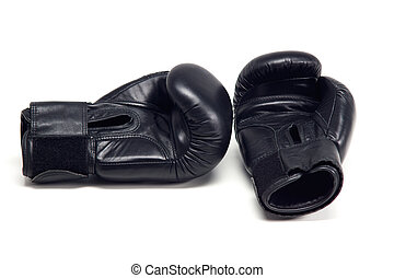 Boxing gloves - Pair of black boxing gloves isolated on...
