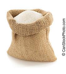 sugar granules in bag on white - sugar granules in bag...