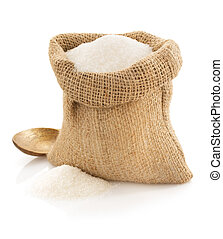 sugar granules in bag on white - sugar granules in bag...