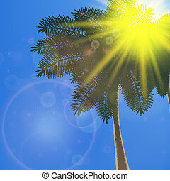 Blue sky with summer sun burst background.