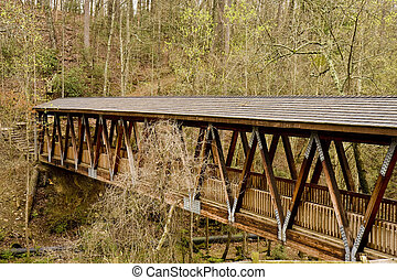 Bridge in Wilderness - An old covered wood bridge spanning a...