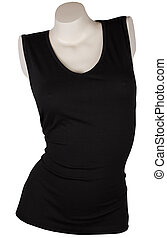 Black female tank top mannequin. Isolated on white