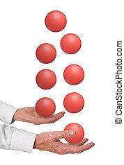 Juggling priorities, concept. Man with many balls in the...