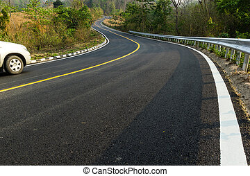 Nice asphalt road in Mae Hong Son, Thailand.