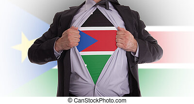 Business man with South Sudan flag t-shirt - Business man...