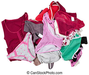Lots of colorful lingerie isolated on white - Lots of...