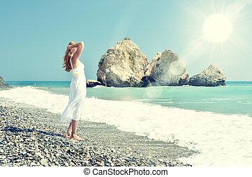 niña, Mirar, mar, Afrodita, Lugar de nacimiento,...