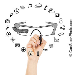 hand drawing a wearable glasses applications chart