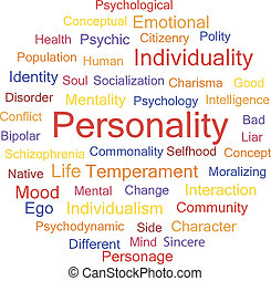 Personality Psychological creative words conceptual tag...