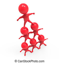 3d Human pyramid of red men - 3d render of little red people...