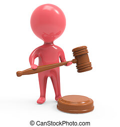 3d Red man with auction gavel - 3d render of a little man in...