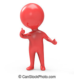 3d Red man gives the thumbs up - 3d render of a little red...