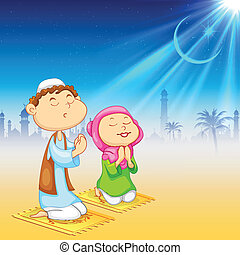Kids offering namaaz for Eid celebration - illustration of...
