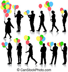 Black silhouettes of beautiful mans with balloons and womans...