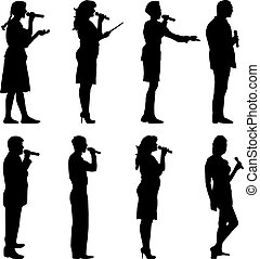 Black silhouettes of mans and womans singing karaoke on...
