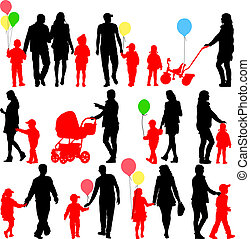 Black set of silhouettes of parents and children with...
