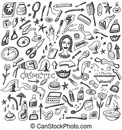 Cosmetic doodles - Cosmetic -set vector icons in sketch...