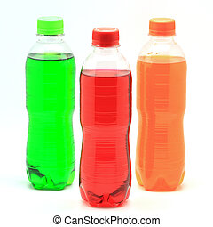 soft drink - colorful of soft drink bottles isolated on...