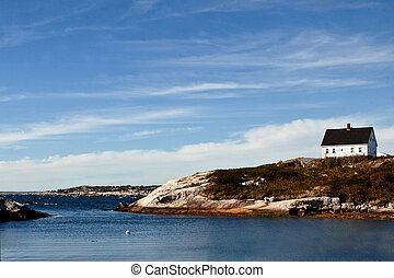 House on Nova Scotia Coast - A single house on the rocky...
