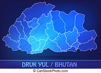 Map of bhutan with borders as scrible