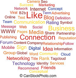 Connection social media, word cloud vector illustration.